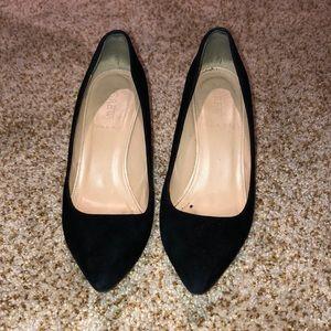 J Crew black suede heels